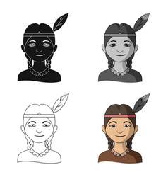 indianhuman race single icon in cartoon style vector image
