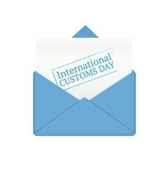 International customs day in paper envelope vector