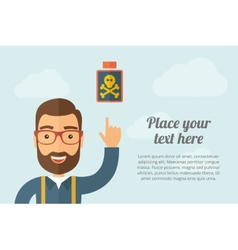 Man pointing the poisonous bottle icon vector