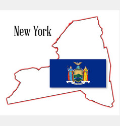 new york state map and flag vector image