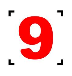 Number 9 sign design template element red vector