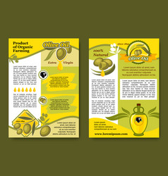 Olive oil product and olives posters set vector