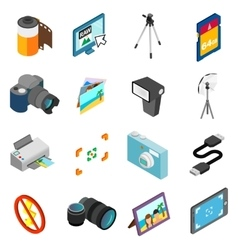 Photography icons set isometric 3d style vector image