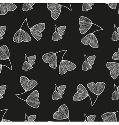 Seamless pattern with leaves of ginkgo biloba vector