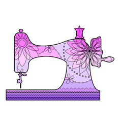 Sewing machine with transition colors vector