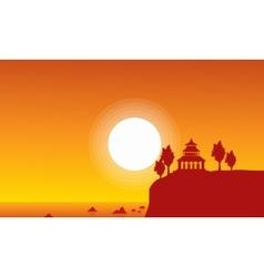 Silhouette of pavilion on seaside scenery vector