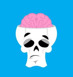 skull and brain surprised emoji skeleton head vector image vector image