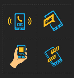 Smart phone icons on black background vector