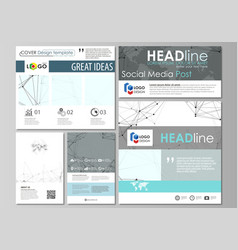 Social media posts set business templates vector