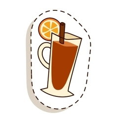 Tea cup with lemon slice cartoon vector image