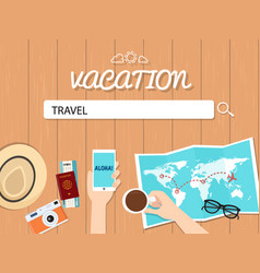 Travel search graphic for vacation vector