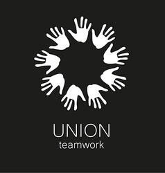 Union hands teamwork logo template vector