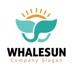 Whale sun design vector
