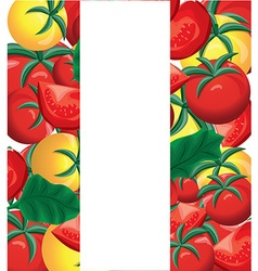 Yellow and red fresh tomatoes background vector
