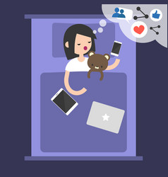 young blogger dreaming about success in social vector image vector image