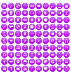 100 audience icons set purple vector