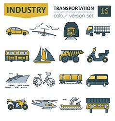 Transportation icon set thin line design vector