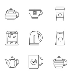 Beverage icons set outline style vector