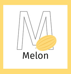 Melon and letter m coloring page vector