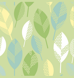 Spring floral seamless pattern with leaves vector