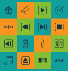 Set of 16 multimedia icons includes extract vector