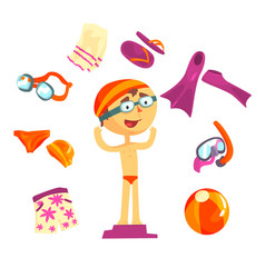 swimmer and beach accessories set for label design vector image