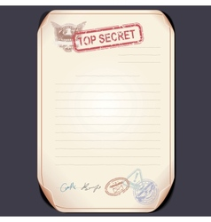 Old top secret document on table template vector