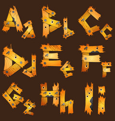 english alphabet from pieces of wood the original vector image