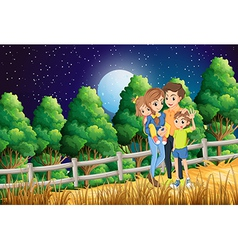 A family at the forest vector