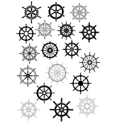 Ship wheel in retro style icon set vector image
