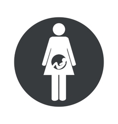 Monochrome round pregnancy icon vector