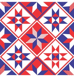 American patchwork quilt seamless pattern vector