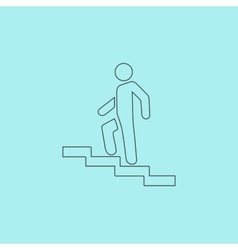 Man on stairs going up symbol vector