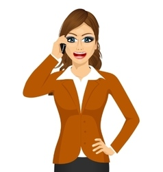 Angry businesswoman talking on mobile phone vector