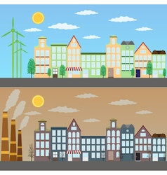 View of green city and pollution vector