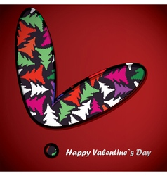 Valentine day card with trees inside heart vector