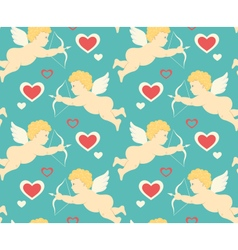 Seamless festive love pattern with cupid and vector