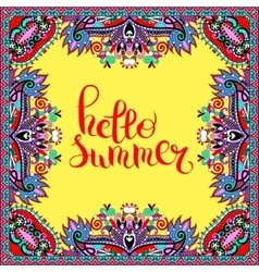 Hello summer hand written lettering inscription on vector