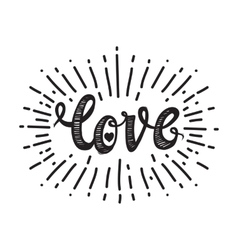 Love and starburst white vector image