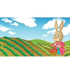 A rabbit and a farm vector image