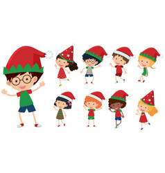 Children with christmas hats vector