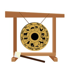 Chinese gong with zodiac and hammer vector image