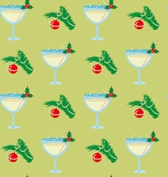 Christmas seamless pattern with glasses of vector image vector image