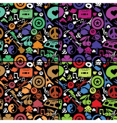 Different objects on black background vector image vector image