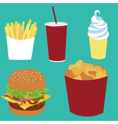 French fries soda coke ice-cream cheeseburger vector image