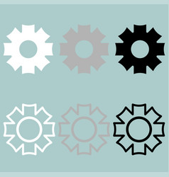 Gear icon black grey white vector