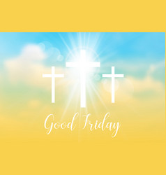 Good friday background with white cross and sun vector