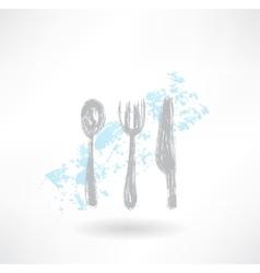 Grey cutlery grunge icon vector image vector image