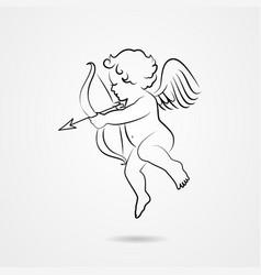hand drawn sketch of cupid vector image vector image