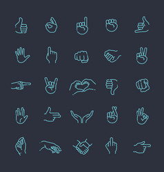 hand gestures thin line icon set vector image vector image